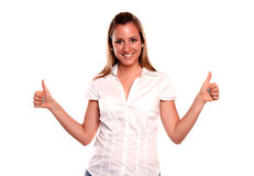 Happy blonde young woman saying great job Stock Photography