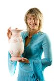 Happy blondie with flower pot. Isolate on white Royalty Free Stock Photos