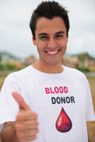 Happy blood donar smiling Royalty Free Stock Photo
