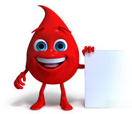 Happy Blood Droplet. An illustration of a happy blood droplet holding a banner Stock Photos