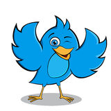 Happy Blue Bird Mascot Design Stock Photography