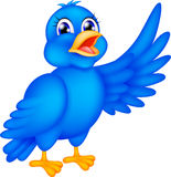 Happy blue bird waving wings Stock Images
