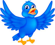 Happy blue bird waving wings Royalty Free Stock Photography