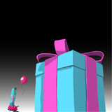 Happy blue cartoon character with balloon and large present Royalty Free Stock Photo