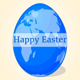 Happy blue Easter egg with world map for your design in cartoon style. Vector illustration. Holiday Collection. Royalty Free Stock Photo