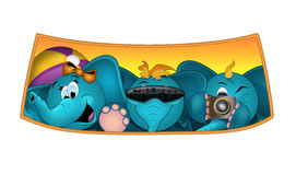 Happy blue elephants on a roadtrip. Elephant kids waving from a car window - nthe file is in Adobe RGB Stock Image