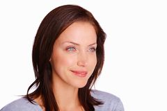 Happy blue eyed young female looking away Stock Photos