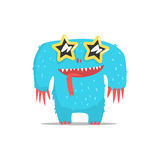 Happy Blue Furry Giant Monster In Star Shaped Dark Glasses Partying Hard As A Guest At Glamorous Posh Party Vector. Illustration Part Of The Funny Alien Animal Stock Photo