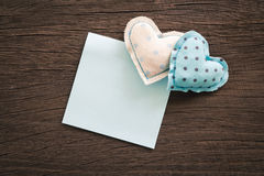 Happy blue hearts with blank notepad for wedding and anniversary Royalty Free Stock Photos