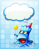 A happy blue monster with an empty cloud callout Royalty Free Stock Photography