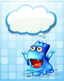 A happy blue monster with an empty cloud callout Stock Images