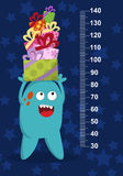 Happy blue monster with gifts on background with stars. Stadiometer. Vector Stock Photos