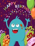Happy blue monster with gifts and balloons celebrating his birthday. Illustration Royalty Free Stock Image