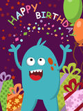 Happy blue monster with gifts and balloons celebrating his birthday. Vector. Illustration Royalty Free Stock Photos