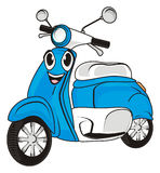 Happy blue moped. Smiling blue moped on a white background Royalty Free Stock Images