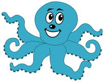 A happy blue octopus Stock Photo