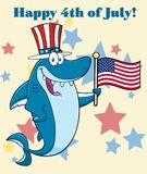 Happy Blue Shark Cartoon Mascot Character With Patriotic Hat Holding An American Flag. Illustration With Background Text Happy 4th July stock illustration