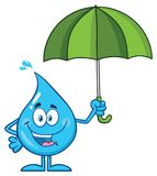Happy Blue Water Drop Cartoon Mascot Character Holding An Umbrella Stock Photo