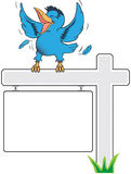 Happy bluebird. Bluebird singing and dancing on realty sign Stock Photo