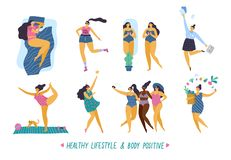 Happy body positive girls with healthy lifestyle in different pose: sleep, sport, love, work, yoga, party and health care. stock illustration