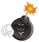 Happy bomb in sunglasses show gesture. Smiling black round bomb with a fire show gesture Royalty Free Stock Photos