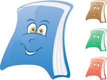 Happy book. Cartoon book in blue, brown, green and red color Royalty Free Stock Photography