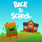 Happy book character goes to school Royalty Free Stock Image