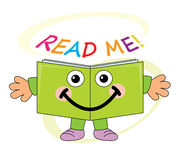 Happy book mascot - read me!. Happy smiling book mascot/ cartoon character with READ ME! text Royalty Free Stock Photo