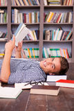Happy bookworm. Royalty Free Stock Photography