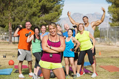 Happy Boot Camp Fitness Group Stock Photos