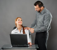 Happy boss and employee Royalty Free Stock Photo