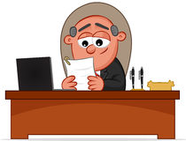 Happy Boss Man Looking Paper. Boss man happy and looking paper Stock Images