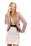 Happy boss with phone isolated on white Stock Photo
