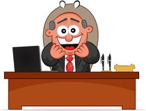 Happy Boss is Sitting Behind His Desk Royalty Free Stock Photo