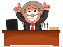 Happy Boss is Sitting Behind His Desk Royalty Free Stock Photos