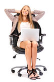 Happy boss taking a rest Royalty Free Stock Photo