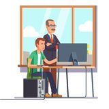 Happy boss watching over shoulder of an employee. Happy boss watching over shoulder of a smiling employee at work. Tired business man. Flat style modern vector Stock Image