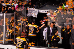 Happy Boston Bruins fans. Stock Photo