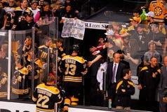 Happy Boston Bruins fans. Stock Photo