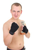Happy boxer with cup Royalty Free Stock Image