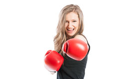 Happy boxer female with focus on the hand Royalty Free Stock Image