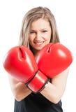 Happy boxer girl smiling Royalty Free Stock Image