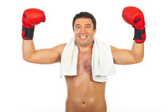 Happy boxer man winner Royalty Free Stock Photos