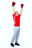 Happy boxer man winner raising arms Stock Photo