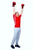 Happy boxer man winner raising arms Stock Photo
