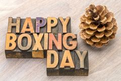 Happy Boxing Day Word Abstract In Wood Type Stock Photos