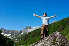 Happy boy. In Caucasus mountains Stock Photo