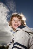 Happy Boy. A boy enjoying a fall day Royalty Free Stock Photography
