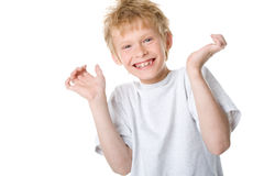 Happy boy. On a white background royalty free stock image