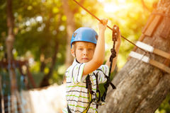 Happy boy at adventure and climbing ropeway activity in forest.  Stock Photos